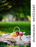 picnic basket with fruits  food ... | Shutterstock . vector #664321660