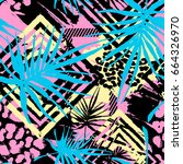 exotic seamless tropical... | Shutterstock .eps vector #664326970