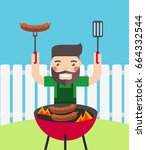 smiling man cooking barbecue... | Shutterstock .eps vector #664332544