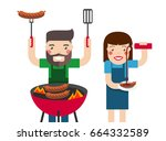 smiling man and woman cooking...   Shutterstock .eps vector #664332589