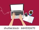 overhead view of businesswoman... | Shutterstock .eps vector #664332670