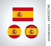 flag design. spanish flag set.... | Shutterstock .eps vector #664332748