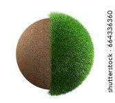 half grass half desert planet... | Shutterstock . vector #664336360