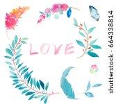 watercolor leaves rose flower... | Shutterstock . vector #664338814