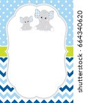 vector card template with cute... | Shutterstock .eps vector #664340620