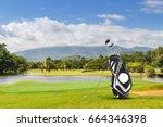 golf equipment   golf bag ... | Shutterstock . vector #664346398