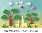 paper origami concept  applique ... | Shutterstock .eps vector #664354336