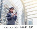 portrait of beautiful young... | Shutterstock . vector #664361230