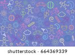 children drawings background | Shutterstock .eps vector #664369339