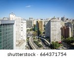 aerial view of sao paulo city ... | Shutterstock . vector #664371754