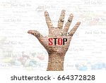 hand holding for stop to drugs  ... | Shutterstock . vector #664372828