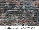 old red bricks wall texture...   Shutterstock . vector #664390510