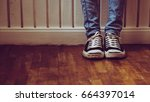 looking down on feet | Shutterstock . vector #664397014