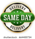 green same day delivery badge... | Shutterstock .eps vector #664400734