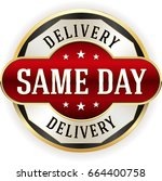 red same day delivery badge... | Shutterstock .eps vector #664400758
