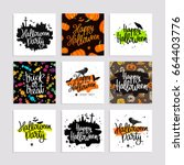 set of greeting cards for happy ... | Shutterstock .eps vector #664403776