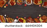 vector illustration  culinary... | Shutterstock .eps vector #664404304