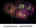 beautiful firework display for...   Shutterstock . vector #664409380