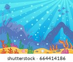 vector cartoon sea background.... | Shutterstock .eps vector #664414186