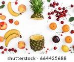 creative pattern made of summer ... | Shutterstock . vector #664425688