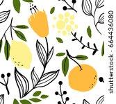orange  lemon and flower... | Shutterstock .eps vector #664436080