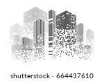 building and city illustration. ... | Shutterstock .eps vector #664437610