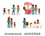 set of family leisure. african... | Shutterstock .eps vector #664439068