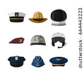 hats and helmets. headgear of... | Shutterstock .eps vector #664443223