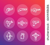 weapons line icons set  pistol  ...