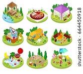 isometric bbq picnic. summer... | Shutterstock .eps vector #664450918