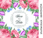 save the date card template... | Shutterstock .eps vector #664454254