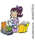 girl tea party   Shutterstock .eps vector #664457014