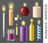 candles realistic 3d set wax... | Shutterstock .eps vector #664461133