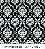 seamless damask wallpaper | Shutterstock .eps vector #664465060