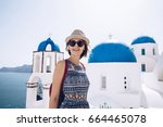 travel tourist happy woman ... | Shutterstock . vector #664465078