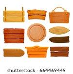 old west wood board set. wooden ... | Shutterstock .eps vector #664469449