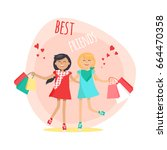 happy girls with colorful... | Shutterstock .eps vector #664470358