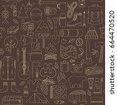 vector doodle camp elements.... | Shutterstock .eps vector #664470520