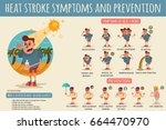 heat stroke symptoms and... | Shutterstock .eps vector #664470970