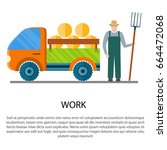 work poster with car carrying... | Shutterstock .eps vector #664472068