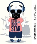 little rock star pug dog... | Shutterstock .eps vector #664472863