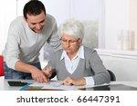 young man helping elderly woman ... | Shutterstock . vector #66447391