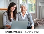 young woman and elderly woman... | Shutterstock . vector #66447442