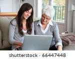 young woman and elderly woman... | Shutterstock . vector #66447448