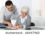 young man helping elderly woman ... | Shutterstock . vector #66447460