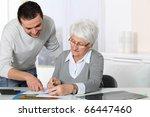 young man helping elderly woman ... | Shutterstock . vector #66447460