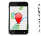 map with location pin on... | Shutterstock . vector #664477114