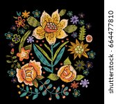embroidery folk pattern with...   Shutterstock .eps vector #664477810