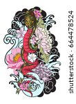 traditional tattoo japanese... | Shutterstock .eps vector #664478524