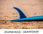 surfboard on the beach  fin... | Shutterstock . vector #664493449